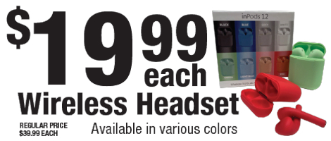 inPod wireless headset. Available in various colors. $19.99