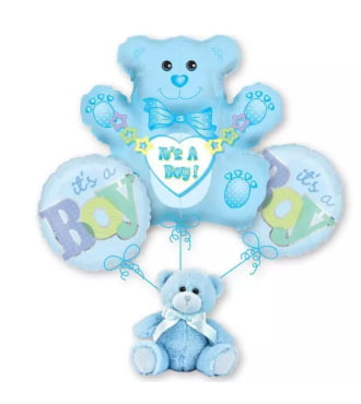 Baby Boy Teddy Bear Balloon Bouquet