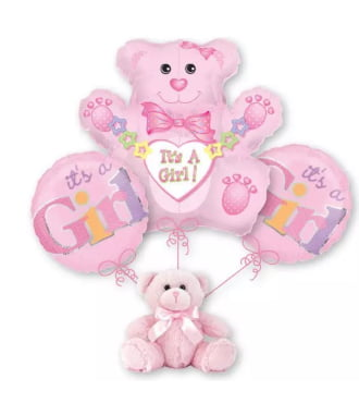 Baby Girl Teddy Bear Balloon Bouquet