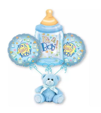 New Baby Boy Bottle Balloon Bouquet