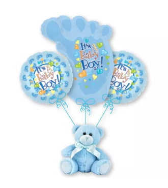 Baby Boy Footprint Balloon Bouquet