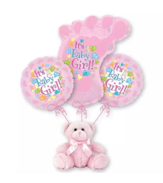 Baby Girl Footprint Balloon Bouquet