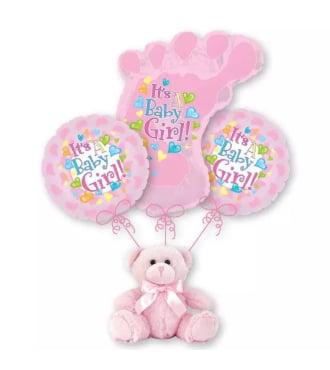 Baby Girl Footprint Balloon Bouquet