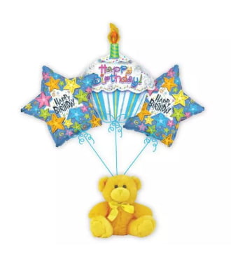Happy Birthday Cupcake Balloon Bouquet