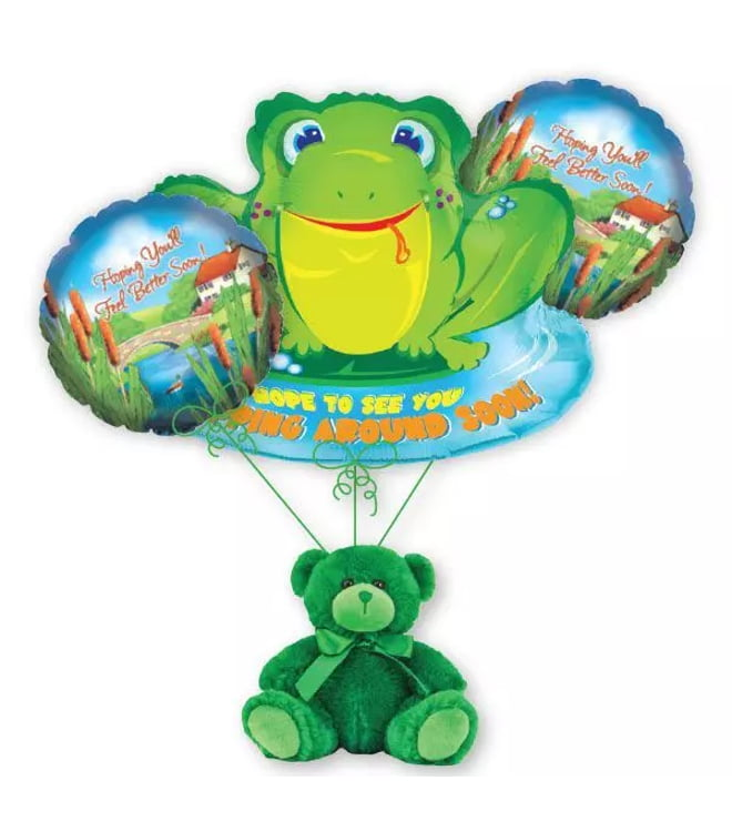 Get Well Frog Balloon Bouquet