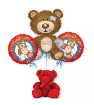 Get Well Bear Balloon Bouquet